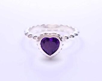 Silver ring bezel set Amethyst heart