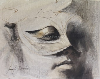 The Masked Woman - Alla Prima Portrait - Oil Painting by Jennifer Brandon