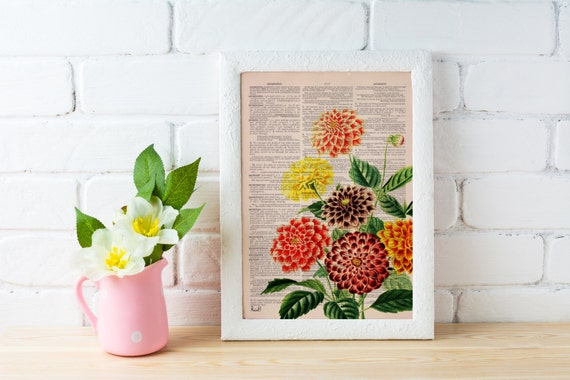 Dahlia bouquet print  Dictionary Page wall art home decor, wall hanging , flower wall art, Dahlia wall decor BFL081