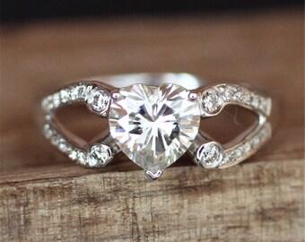 Brilliant Moissanite Engagement Ring Forever Classic 1.0ct Heart Shape Moissanite Ring Anniversary Ring Promise Ring 14K White Gold Ring