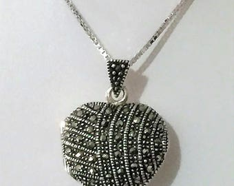"Vintage Sterling Silver Marcasite Heart Shape Locket, 20"" Streling Silver Box Chain Included, Locket 1"" X 1"""
