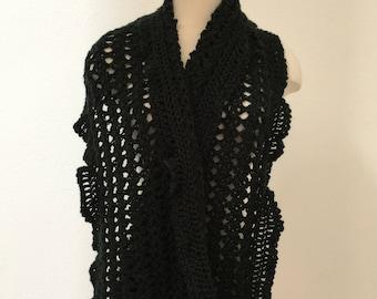 Black Lacy Wrap, Black Scarf, Holiday Gift, Black Evening Wrap, Black Elegant Wrap, Black Lacy Scarf, Black Ruffle Scarf