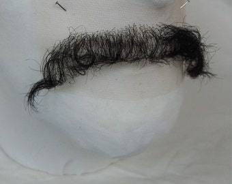 Quality Brown / Black Hand Knotted Fine Lace Human Hair Mexican Moustache Postiche TV / Film / Theatre SFX