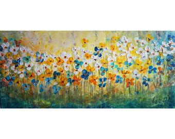 Flowers Field Original Painting on Canvas Impasto Textured Blue White Daisy Forget Me Not Floral Art by Luiza Vizoli