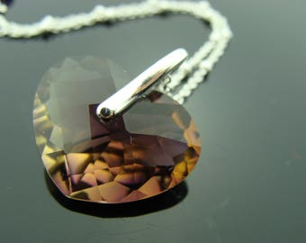 Large Faceted Ametrine Heart Sterling Silver Pendant Necklace