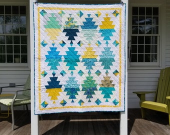Teal and Yellow Aztec Lap Quilt