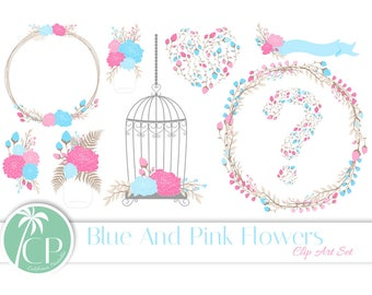 50% OFF Pink & Blue Flower ClipArt - Set of 15 - Flower ClipArt - Baby Shower ClipArt - Pink Flowers - Blue Flowers - Scrapbook