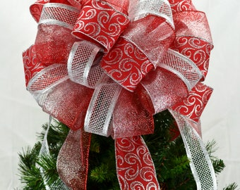Red and Silver Tree Bow - Silver and Red Christmas Decor - Silver Tree Bow Topper - Red Tree Topper Bow - Bow for Top of Christmas Tree