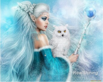 Blue Elven Princess & White Owl
