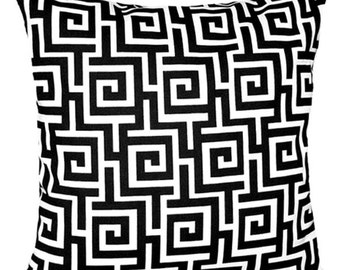 Black and White Outdoor Patio Pillow, Green Key STUFFED Outdoor Pillow, Black White Maze Throw Pillow- Free Shipping