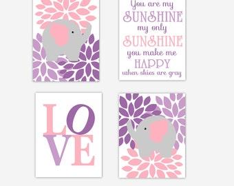 Canvas Baby Girl Nursery Wall Art Pink Purple Lavender Elephant Safari Jungle Decor You Are My Sunshine Baby Nursery Decor Canvas Prints