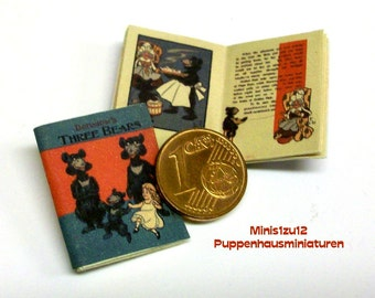 1212# Children's Book:  3 Bears - 1903 - doll house miniature - in scale 1/12