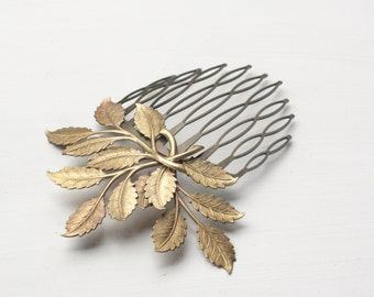 Leaf hair comb bridal vintage style wedding leaves brass bronze hair accessory