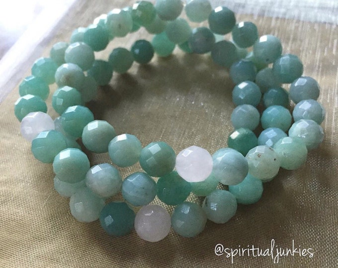 Stackable Mala Inspired Faceted Amazonite + Rose Quartz Mermaid Spiritual Junkies Yoga and Meditation Bracelet (single bracelet)