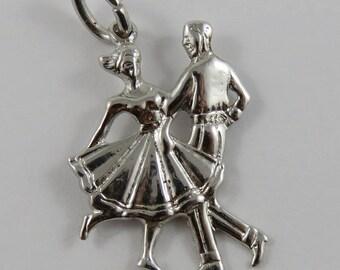 Couple Dancing Sterling Silver Vintage Charm For Bracelet