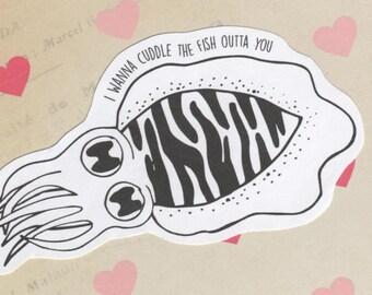 Cuttle Fish vinyl sticker