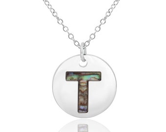 Letter T Initial Necklace Abalone Necklace Abalone Pendant Birthday Gift Hypoallergenic Jewelry Abalone Shell Jewellery Paua Shell Necklace
