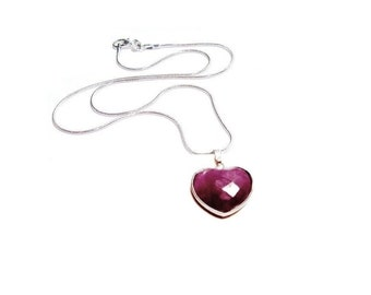 Faceted Ruby Jade Heart Pendant  Necklace