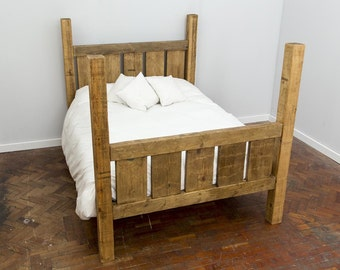 PAGALL -  Handmade Reclaimed Wood Gated End Bed. Custom Made to Order