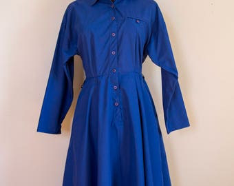 70s Navy Button Down Shirtwaist Uniform Dress Size Small