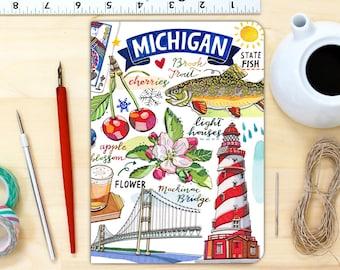 Michigan notebook, blank journal, personalized stationery.