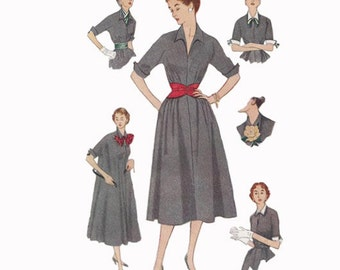 1950s One Piece Dress Simplicity 4007 Bust 34 Jiffy UNCUT VIntage Sewing Pattern Detachable Collar Cuffs Belts Bow and Scarf!