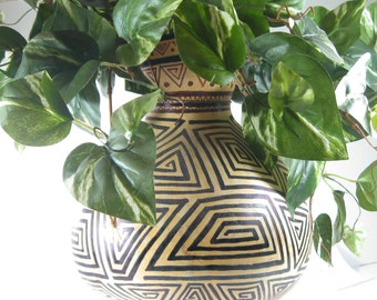 Hanging Gourd for Plants - Hand-Painted Tribal Inspired Graphic Design - African Design Hanging Gourd - HouseWarming Gift Hanging Gourd
