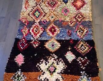 """Bourcherouite Morocca/ Handmade Rug- 4'2"""" x 7'/Moroccan rug/Boucherouite/Wedding gift/Living room/Bedroom/ price reduced"""