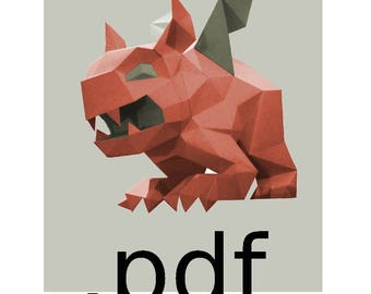 Gargoyle DIY lowpoly papercraft PDF template to build this decorative paper model