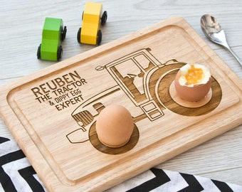 Personalised Tractor Egg Board, easter gift, birthday, personalized
