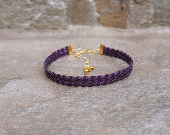Purple Leather Choker