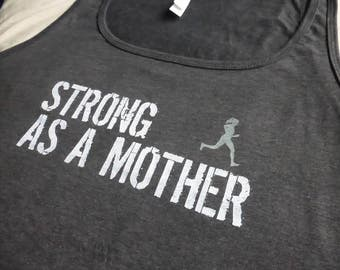 Strong Mother TANK Top w/ RUNNER RELAXED Fit Women T-shirt Graphic Printed Grey Mothers Day Soft Mom Tee