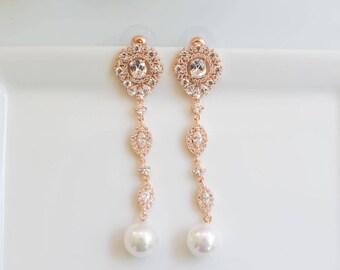 Rose Gold Earrings   Long Earrings   Bridal Earrings   Pearl Earrings   Bridal Jewelry   Pearl Dangle Earrings   Weddings