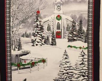 Country Church - Winter Scene - Christmas - Nancy Fullenwider - Timeless Treasures - Sledding
