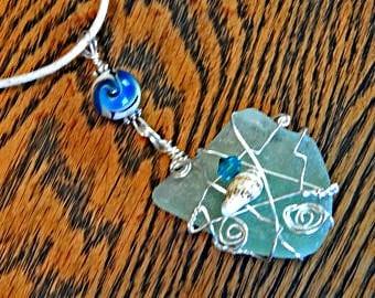 Sea Glass Necklace, Seafoam Sea Glass Pendant, Seafoam Sea Glass, Found Sea Glass, Genuine Seafoam Seaglass, Chesapeake Bay Sea Glass