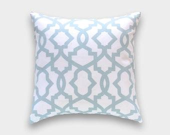 Snowy Blue Sheffield Pillow Cover. Light Blue Lattice Cushion Cover. Blue Pillow.  Lattice Pillow Cover.