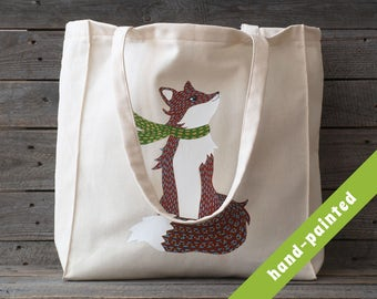 fox tote bag/ animal purse / red fox bag/ woodland bag, animal tote, Woodland Tote Bag, hand-painted tote bag, tote bag, fox bag/ eco bag