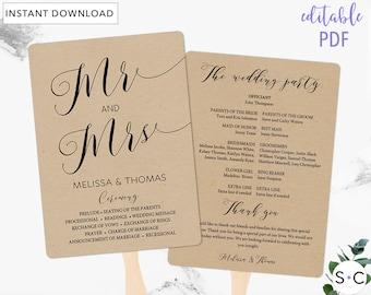 Wedding Program Fan Template, Rustic Wedding Program Fan Templates, Mr and Mrs, DIY Wedding Program Fans, Wedding Program Template
