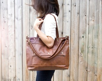 Leather Laptop Bag, Leather Tote, Professional Leather Bag, Attorney Bag, Large Leather Tote, Chestnut Briefcase, Archive Bag