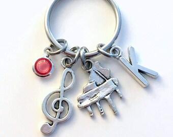 Piano KeyChain, Pianist Key Chain, Instrument Music Keyring Musician Gift for teen teenager teenage girl women woman boy present treble her
