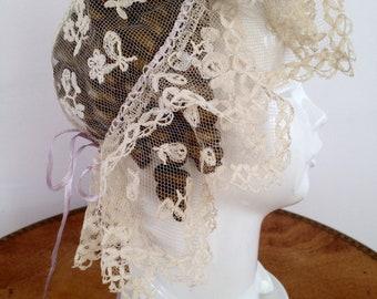 Antique Victorian Rare Honiton Lace Wedding Hat