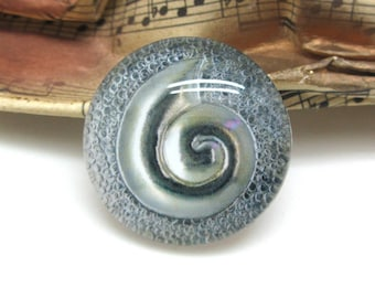 2 cabochons glass spiral Silver 20 mm-20 mm