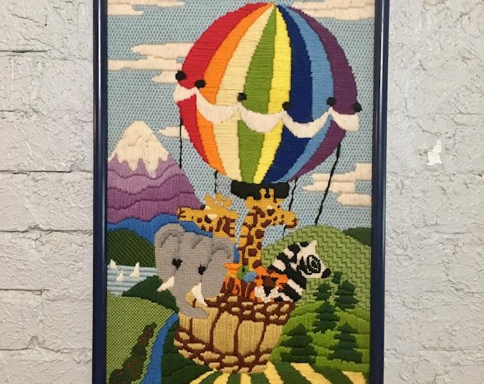 Vintage Hot Air Balloon & Zoo Animal Handmade Crewel