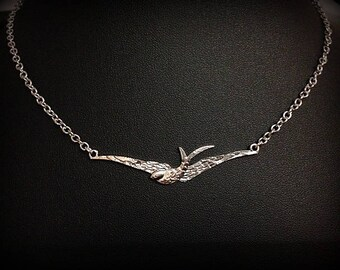 Necklace silver chain, pendant swallow in flight