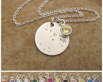Constellation necklace - Custom Zodiac jewelry - Birthstone, Moon, stars, Sterling silver necklace - Inspirational jewelry