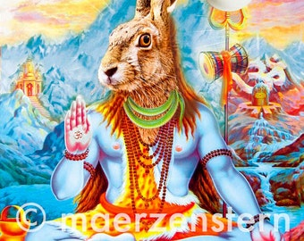 Postcard 'Distant Easter' (28), Easter card, Easter greetings, Easter Bunny, India, blue mountains, Hindu, Happy Easter