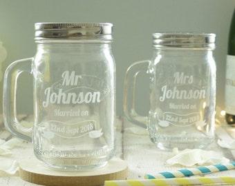 Personalised Wedding Engraved Kilner Drinking Jars