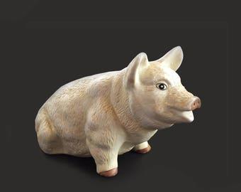 """Vintage 7"""" Porcelain Pig Figurine // Barnyard Animals  // Porcelain Pig // Collectible Farm Pig Figurine"""