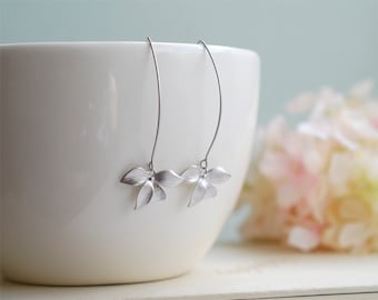 Silver Earrings, Orchid Flower Long Dangle Earrings, Wedding Jewelry, Bridesmaid gift, Bridal Earrings,  Gift for her , Gift for for Mom