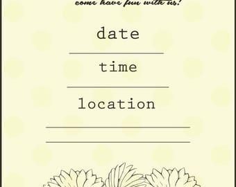 Printable, digital invitation! Cute daisy invitation, fill-in-the-blank